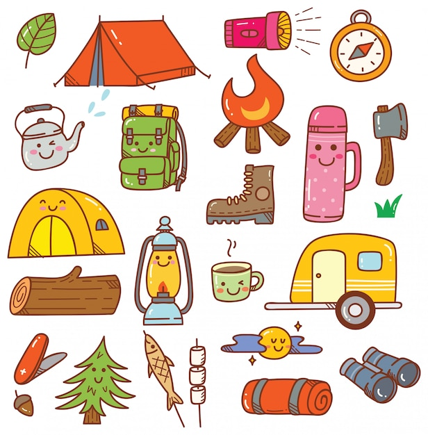 Camping kawaii doodle ensemble Vecteur Premium