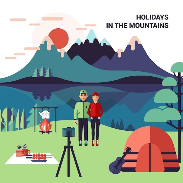 Camping en montagne Vecteur gratuit