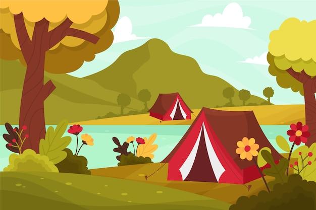Camping Nature Paysage Vecteur gratuit