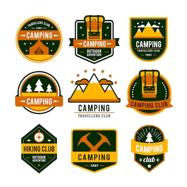 Camping Plat Sertie De Matériel De Randonnée Et De Cuisson En Plein Air Vecteur gratuit
