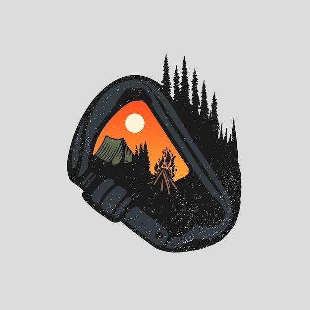 Camping Et Randonnée Dans La Nature Vecteur Premium
