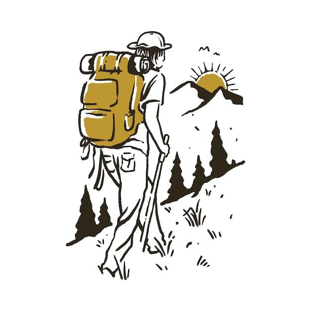 Camping, Randonnée, Escalade, Montagne, Illustration Vecteur Premium
