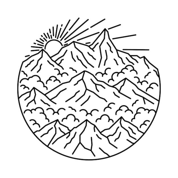 Camping Randonnée Escalade Montagne Nature Illustration Vecteur Premium