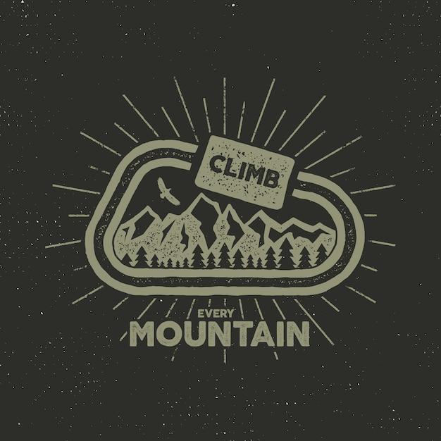 Camping rétro avec texte, escaladez toutes les montagnes Vecteur Premium