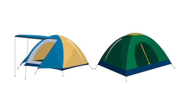 Camping tentes isolé illustration vectorielle Vecteur Premium