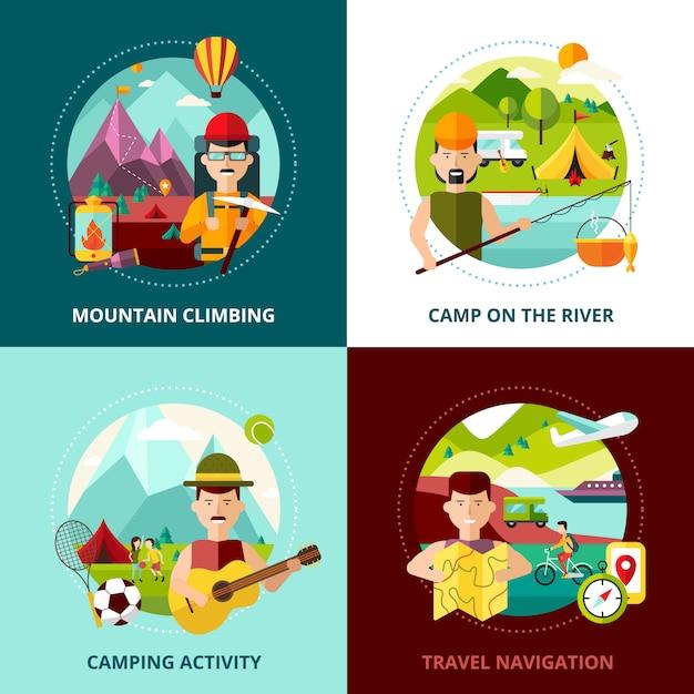 Camping types design concept quatre icônes carrées composition abstraite bannière illustration vectorielle Vecteur gratuit