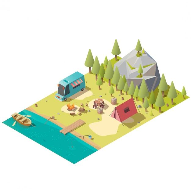 Camping sur vecteur isométrique de la rive du lac montagne Vecteur gratuit
