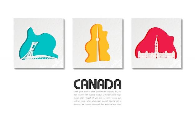 Canada landmark global travel and journey en papier découpé Vecteur Premium