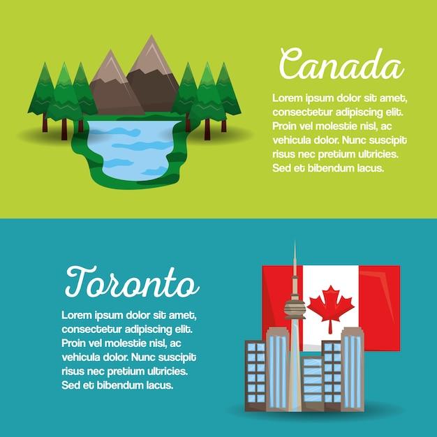 Canada Toronto Drapeau Montagne Lac Bannières Conception Vecteur Premium