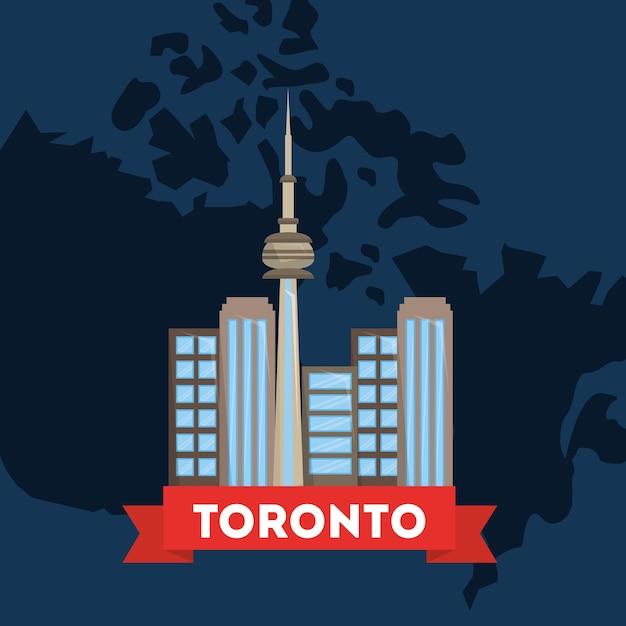 Canada Toronto Ville Sur La Carte Du Pays Fond Bleu Vecteur Premium