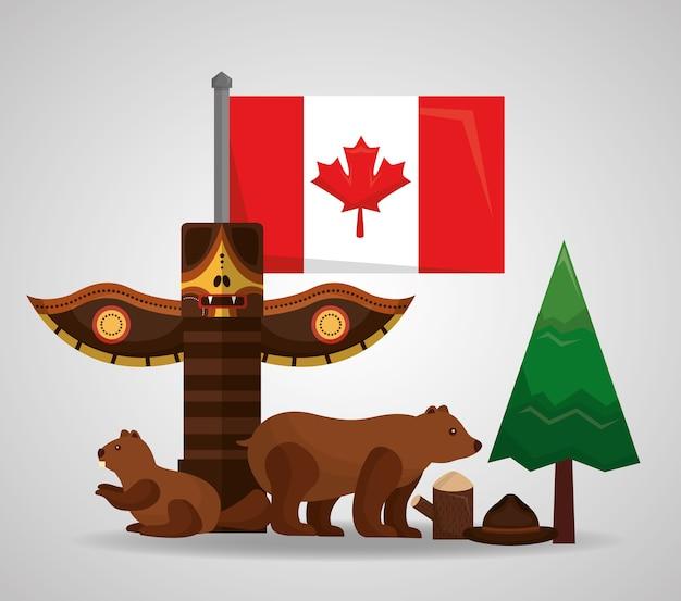Canada Totem Ours Castor Forêt Pin Drapeau Vecteur Premium