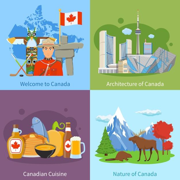 Canada travel 4 flat icons square Vecteur gratuit
