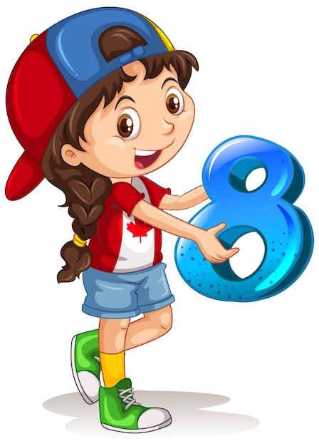 Canadian Girl Wearing Cap Holding Math Numéro Huit Vecteur gratuit