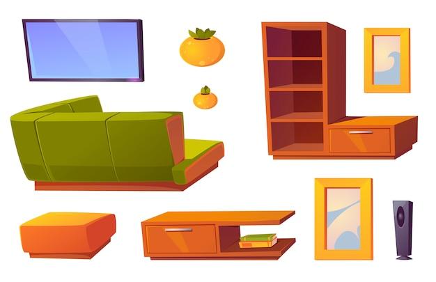 Canapé D'angle, Télévision Et étagères Pour Le Salon Vecteur gratuit
