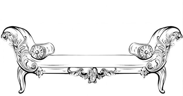Canapé ou banc avec riche éléments d'ornements baroques vector. style victorien impérial royal Vecteur Premium