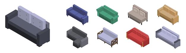 Canapé Icon Set. Ensemble Isométrique Des Icônes Vectorielles Canapé Pour La Conception Web Isolée Sur Fond Blanc Vecteur Premium