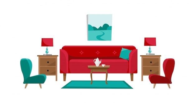Canapé Rouge Avec Table De Café Dans Le Salon. Vecteur Premium