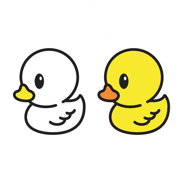 Canard blanc et jaune Vecteur Premium