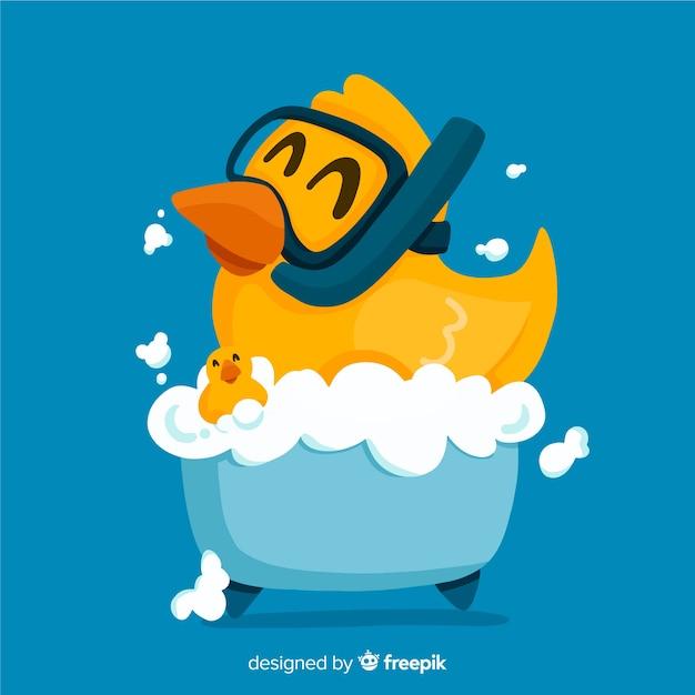Canard en caoutchouc jaune plat dans la baignoire Vecteur gratuit