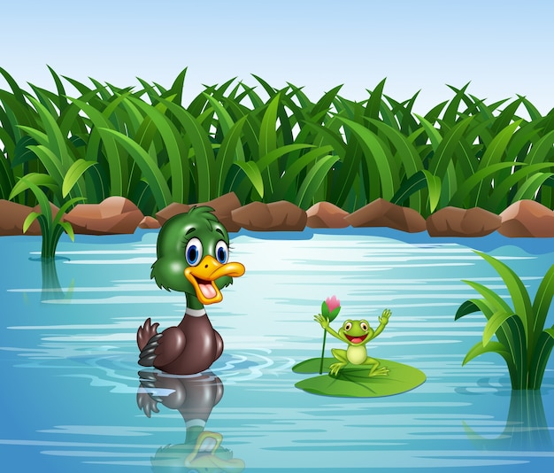 Canard de dessin animé avec une grenouille heureuse Vecteur Premium