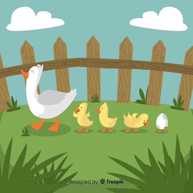 Canard mère plate et canetons sur l'herbe Vecteur gratuit