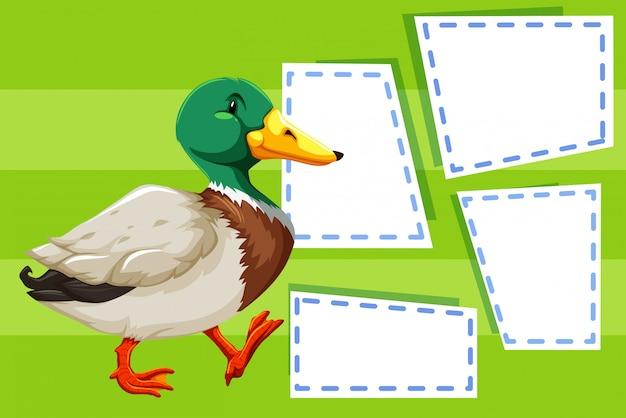 Un Canard Sur Une Note Vide Vecteur gratuit
