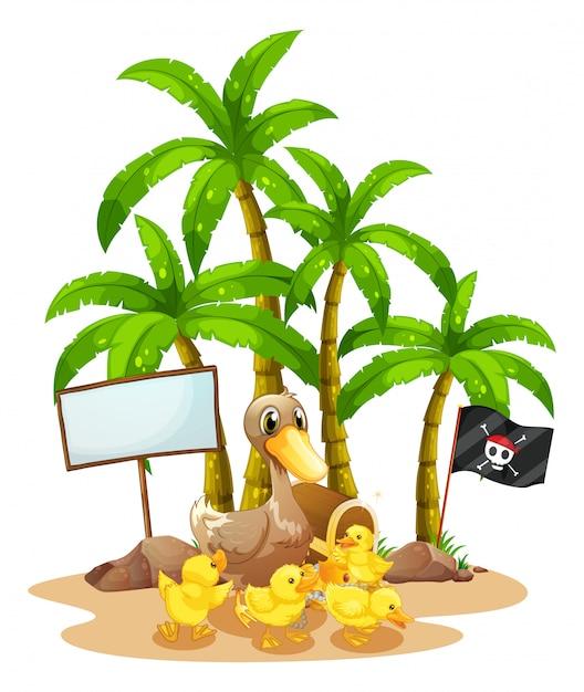 Un canard et ses canetons près du panneau sous l'arbre Vecteur gratuit