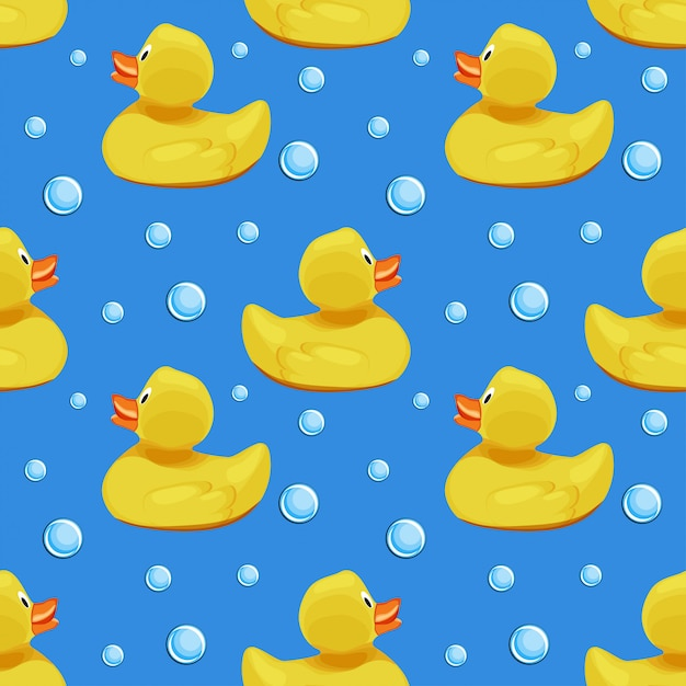 Canards en caoutchouc jaune mignon, canetons et bulles de savon sur le motif sans soudure de fond de l'eau bleue. Vecteur Premium
