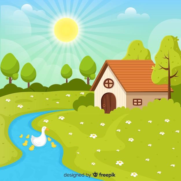 Canards dans le fond de printemps de la rivière Vecteur gratuit