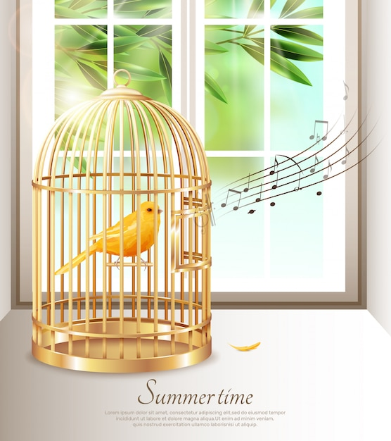Canaries chantant dans une cage à oiseaux dorée Vecteur gratuit