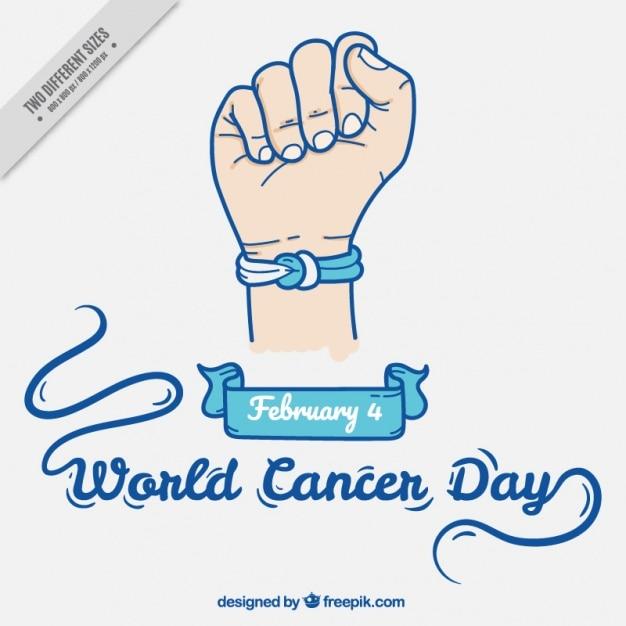 Cancer du monde day background avec bracelet Vecteur gratuit