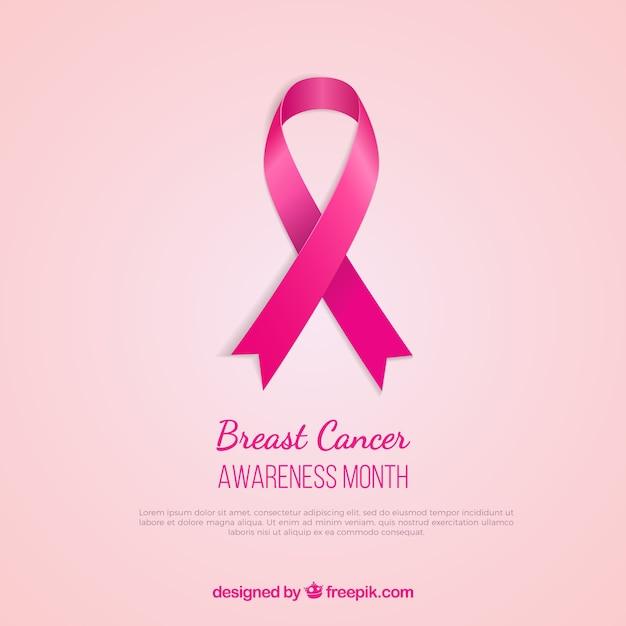 Cancer du sein, ruban rose de conscience Vecteur gratuit