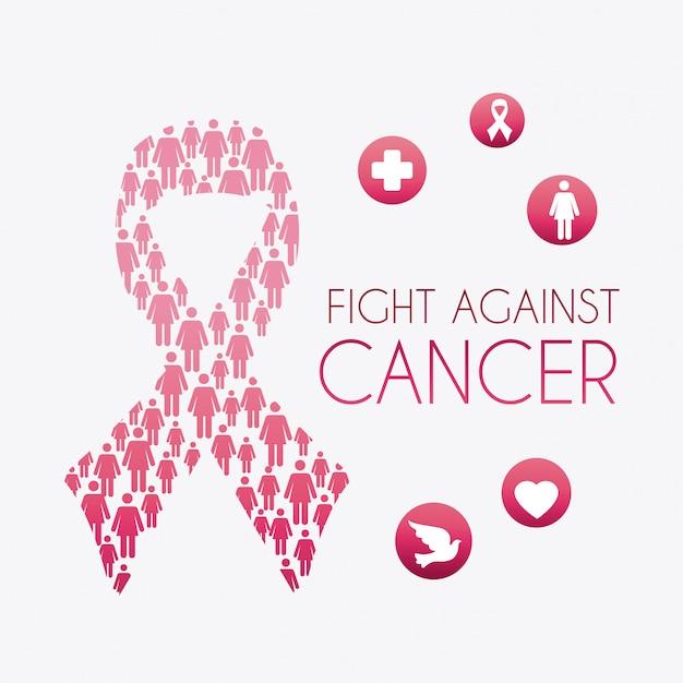 Cancer du sein. Vecteur Premium