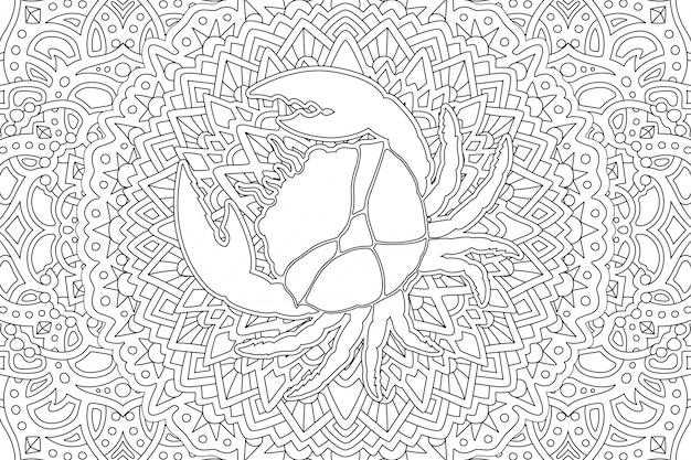 Cancer du zodiaque symbole sur un beau style linéaire Vecteur Premium