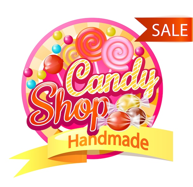 Candy shop logo Vecteur Premium