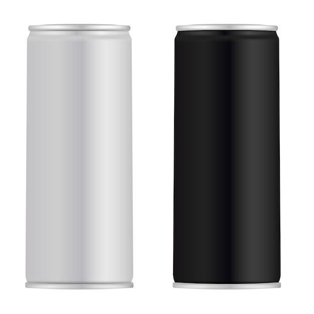 Canette en aluminium. boîte de jus. boisson énergisante Vecteur Premium