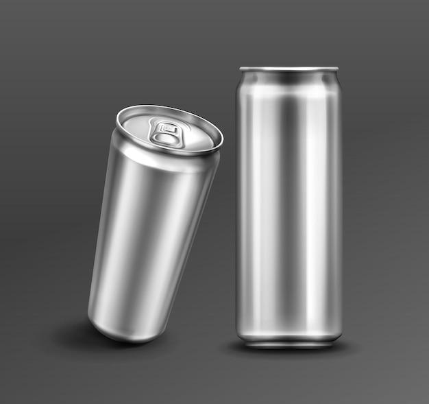 Canette En Aluminium Pour Soda Ou Bière à L'avant Et Vue En Perspective Vecteur gratuit