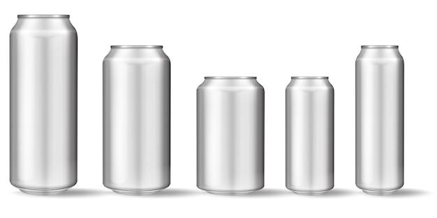 Canette en aluminium réaliste Vecteur Premium