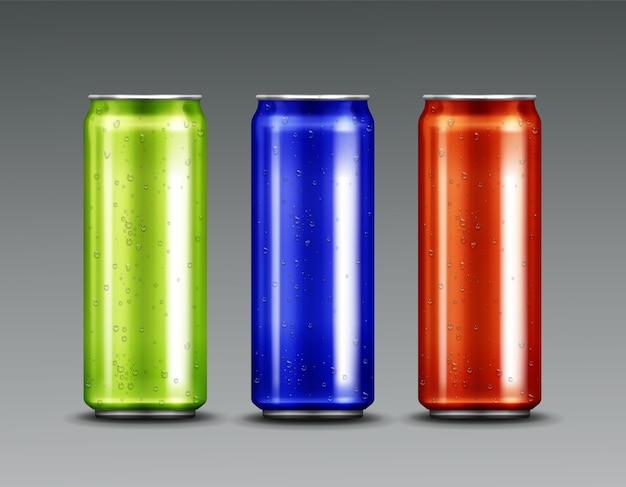 Canettes En Aluminium Avec Soda Froid Et Gouttes D'eau De Condensation Vecteur gratuit
