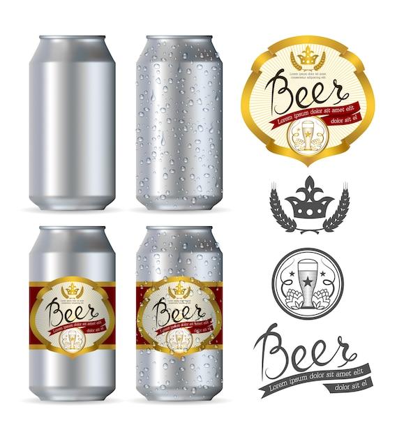 Canettes de bière en aluminium réalistes Vecteur Premium