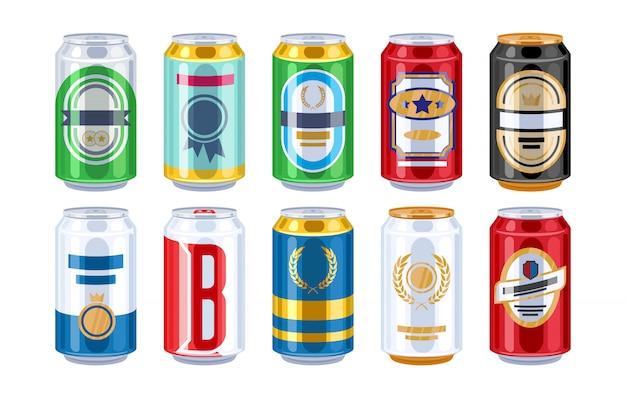 Canettes de bière ensemble d'icônes. Vecteur Premium