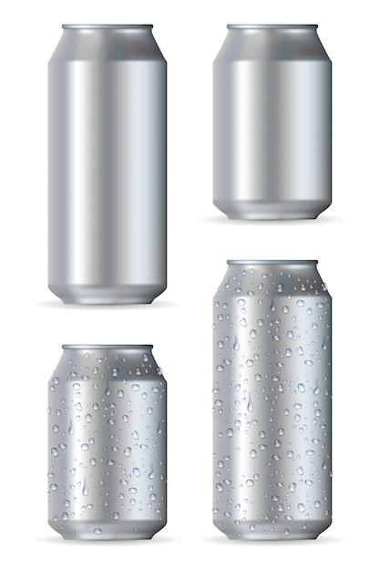 Canettes réalistes en aluminium Vecteur Premium