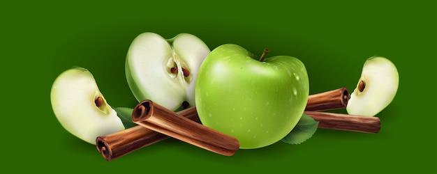 Cannelle Et Pommes Vertes Vecteur Premium
