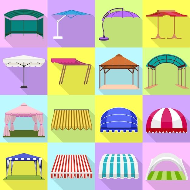 Canopée Ensemble D'icônes. Ensemble Plat De Vecteur De La Canopée Vecteur Premium