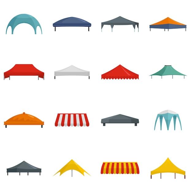 Canopy Hangar Surplomb Ensemble D'icônes Vecteur Premium