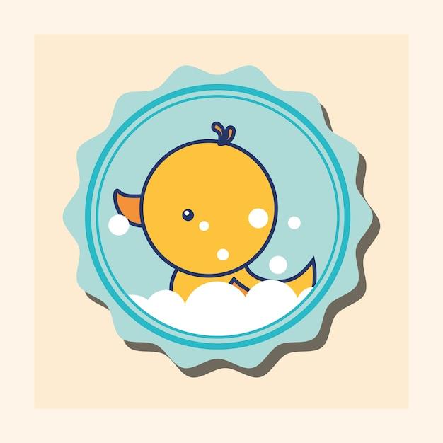 Caoutchouc canard bulles jouet bannière salle de bain Vecteur Premium