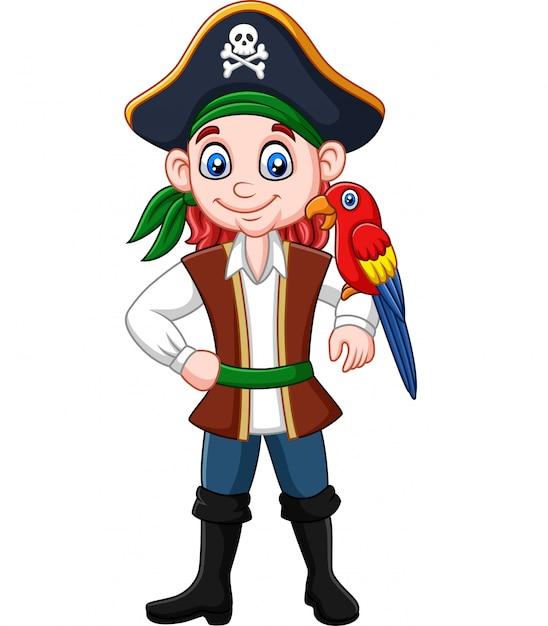 Capitaine Pirate Dessin Animé Avec Oiseau Ara | Vecteur Premium