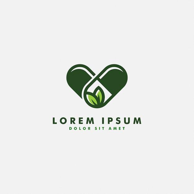 Capsule à Base De Plantes Pilule Feuille Médecine Médicament Logo Vector Icon Design Vecteur Premium