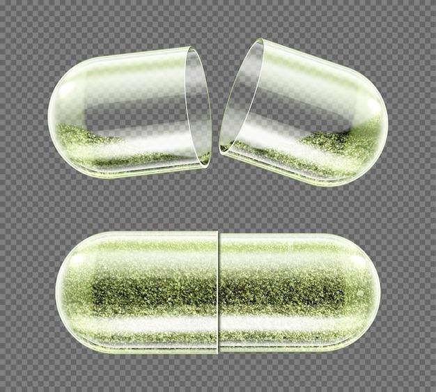 Capsule D'herbes, Supplément Nutritionnel, Pilules En Poudre Vecteur gratuit