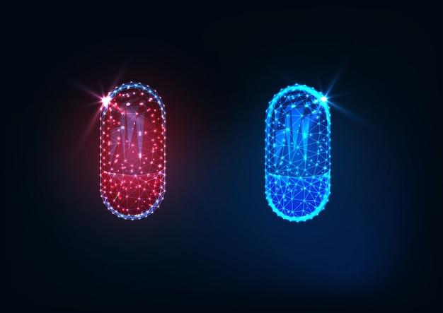 Capsules de médicaments rouges et bleues polygonales futuristes rougeoyant isolés sur fond bleu foncé. Vecteur Premium